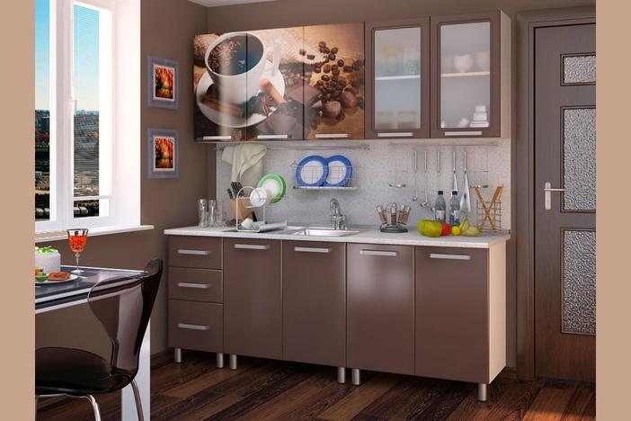 Гарнитур кухонный Люкс Шоколад 2,0 м