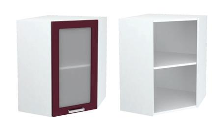Шкаф верхний угловой со стеклом ШВУС 550 ЮЛ